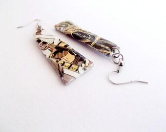 Newspaper earrings, Paper earrings, quirky jewelry, paper jewelry, mismatched jewelry, freeform earrings, funky earrings, geek jewelry