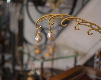 Earrings - beads old Rousselet Pearl enamel.