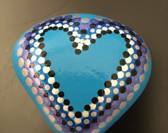 Heart painted rock, polka dots, blue, purple, silver