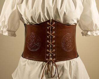Borea Celtic Corset Belt in genuine leather and elastic band.