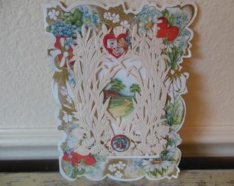 Antique Valentine Beautiful Overlay and Cupids