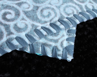 Light Blue Swirls Pet Bed Available in XS, and S