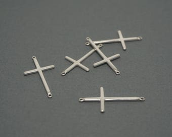 sterling silver sideways cross - cross connector link - silver 2 hole cross link charm - 925 stamped cross - 5 pcs or more