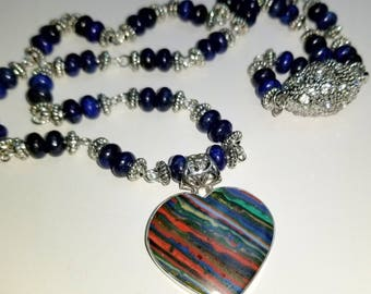 Rainbow Calsilica 925 Sterling Silver Pendant and Lapis Necklace