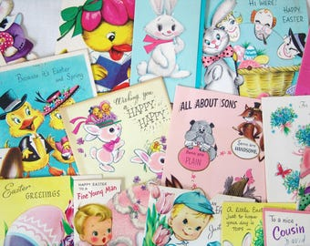 1950s Easter Greeting Cards for Repurpose Art Projects Clip Art Scrapbooking Crafts Paper