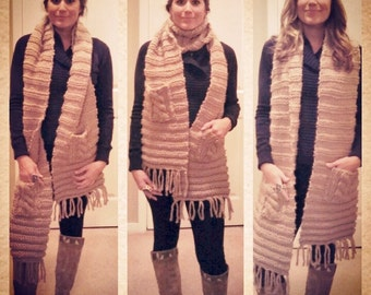 Chunky Knit Scarf with Cable Knit Pockets // Chunky Knit Scarf with Pockets (handmade)