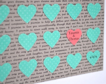 Teal and Pink Wedding- Song Lyric Art, Framed Wedding Vows, Paper Hearts, First Dance Song, Unique Gift for Couple