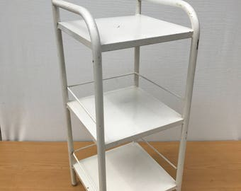 Old bedside tubular Metal painted white & Chrome patina 3 trays from the 50s Vintage
