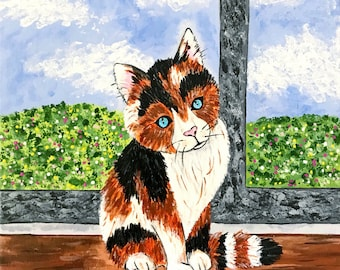 "Painting: ""Calico Cat"" (12 x 12 Inches)"