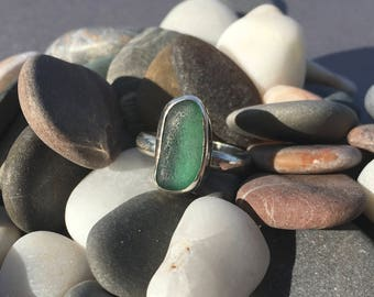 Teal Sea Glass Silver Ring Sz 7 1/4