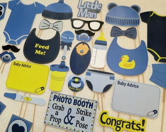 PDF - Boy Baby Shower Photo Booth Props - PRINTABLE Photobooth DIY