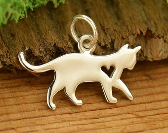 Silver cat charm etsy sterling silver cat charm kitten charm with heart cut out aloadofball Choice Image