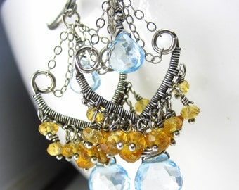 Topaz and Citrine in Silver WireWrapped Chandelier Earrings