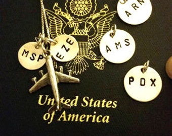 Airport Code Pendants Charm Necklace, Personalized Gift for Pilot Flight Attendant