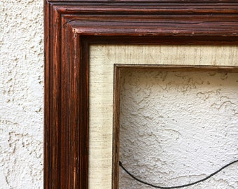 Vintage Red Wooden Frame 11x14 With Linen Matting | Rustic Wood Art Picture Photo Frame Large Framing