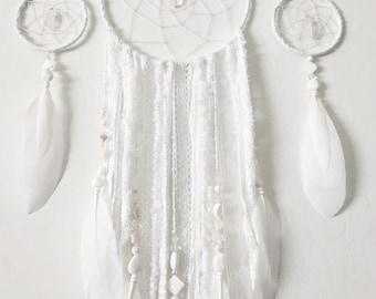 White Dream Catcher - Dreamcatcher -  Boho Decor - Nursery decor -baby shower gift -Wedding decor -Boho Chic Wall Decor -Custom Dreamcatcher