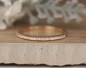 Diamond Wedding Band, Half Eternity Real Diamond 14k Rose Gold Band, Ring, Rose Gold Ring, Promise Ring, Diamond Engagement Ring, Bridal