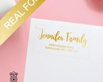 15PCS Gold Foil Return Address Labels / Gold Foil label / Bridal address labels / Self-Adhesive Label / Wedding Labels (GRL001)