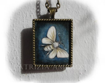 MOTH No.1..original painting necklace.... Handpainted Vintage Style Frame ..victorian..  black..
