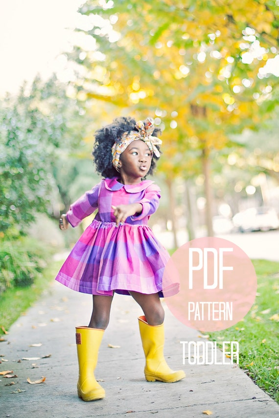 Toddler Peter Pan Collar Dress Pattern PDF Easy Quick Sewing