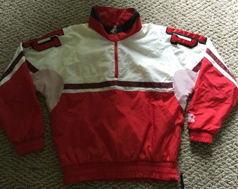 Vintage Retro NCAA  Mens Indiana Hoosiers Basketball IU All Over Print Starter Zip Up Jacket Size M