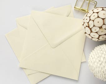 "25 5"" Square Envelopes 5x5 Wedding Invitation Envelopes Buttermilk Cream Envelopes card making greetings cards, card craft. 5.1/8"" 130x130m"