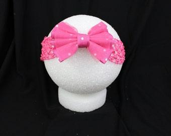 Pink n white polka dot headband