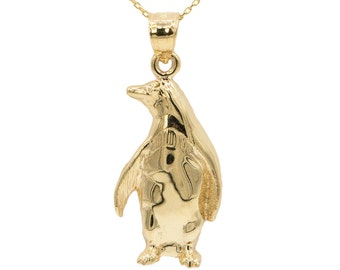 10k Yellow Gold Penguin Necklace