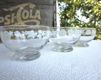Vintage White Gooseberry Glass Dessert Bowls Set of 3