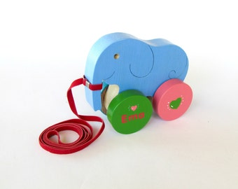 Personalized Wooden Toy,  Pull and Push Toy , Wooden Animal Toy  , Eco Friendly Toy, Elephant On Wheels, Cute elephant