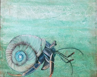 """Hermit Crab Acrylic Mixed Media Painting on 30"""" x 30"""" Gallery Wrapped Canvas Ready to Hang Wall Art Ocean Art Surf Art Nautical Art Crab Art"""