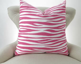 Pink Zebra Pillow Cover -MANY SIZES- Hot Candy Stripe Miami - decorative throw euro sham custom cushion modern zoo