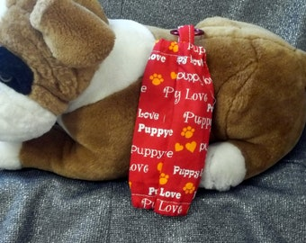 Small Pet Bag Holders, Red Puppy Love, Elastic Openings