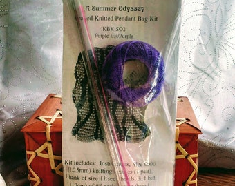Bag Lady Bags Beaded Knitted Pendant Bag Kit in Purple - A Summer Odyssey