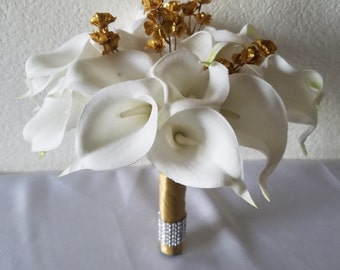 Ivory Gold Calla lily Bridal Wedding Bouquet & Boutonniere