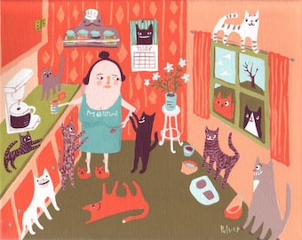 Cat Lady in Kitchen Card - Funny Whimsical Art Note Card