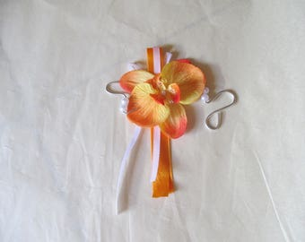 Brooch-wedding - orange/yellow and white boutonniere