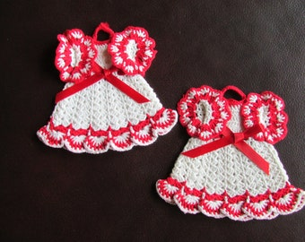 Crochet Doily Dress Doilies Decoration Red White Dress