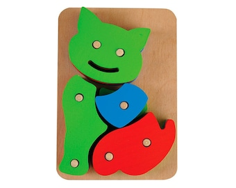 Natural Wooden Cat Puzzle