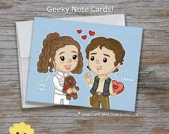 Leia and Han Geeky Love Greeting Card