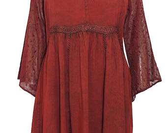 Eaonplus DARK RED Empire Renaissance GOTHIC Embroidered Tunic Top Size 24