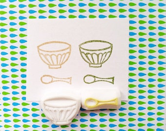 french cafe rubber stamp set | cafe bowl & spoon | gift for girls | diy cafe planners | card making | hand carved by talktothesun | set of 2