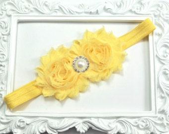 Yellow Flower Headband, Yellow Headband, Easter Headband, Flower Girl Headband, Wedding Headband, Toddler Headband, Newborn Headband
