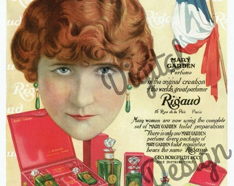 Digital Large Vintage Antique 1910s Rigaud French Cosmetic Perfume Magazine Ad - Print at Home Decor - INSTANT DOWNLOAD