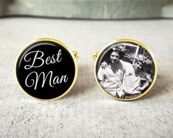 Best Man Cufflinks, Personalized Cufflinks, Wedding Cuff links, Custom Cufflinks, Photo Cufflinks, Wedding Keepsake, Gift For Best Man