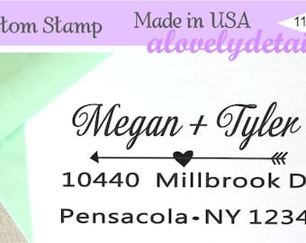 Caligraphyy custom stamp  couple Custom Rubber Stamp    - Personalized Return Address  Save the date
