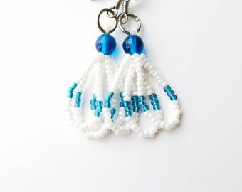 Teal & White Earrings