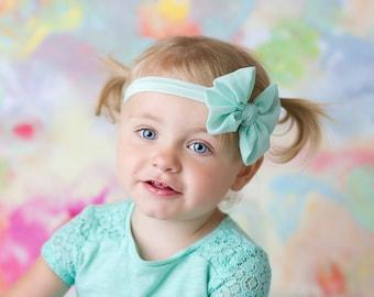Mint Chiffon hair bow Headband  vintage hairbow baby headband fabric knot bow