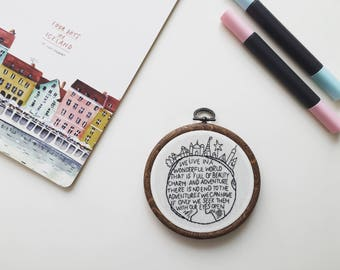 Wonderful World Embroidery Hoop Art