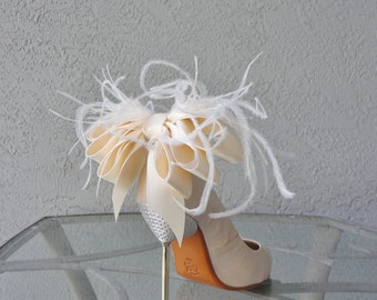 Bridal Shoe Clips Ivory Satin Ribbon Bow And Ostrich Feather